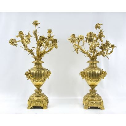 Pair of candlesticks, Napoleon III style, S. XIX.