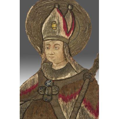 """16th century embroidery, represents """"St Lubin"""" (San Leobino de Chartres). Measures: 80x45cm."""