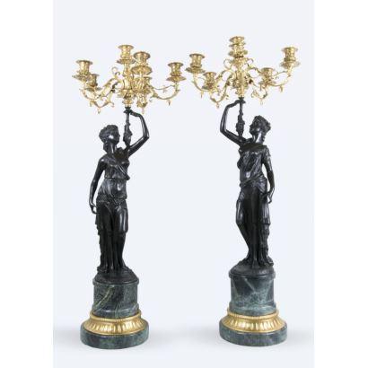 Pair of bronze candlesticks.