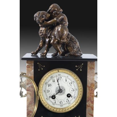 Watches. Table clock in marble and bronze, pps. XIX.