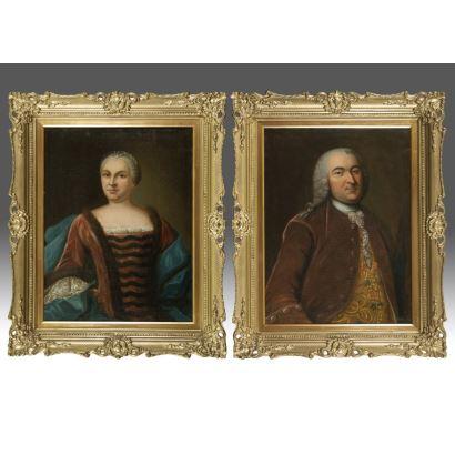 Pareja de óleos sobre lienzo. Escuela alemana s.XVIII.