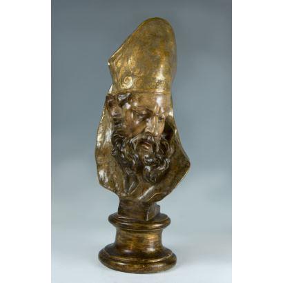 Esculturas. Cabeza de santo obispo, primera mitad del s. XIX.