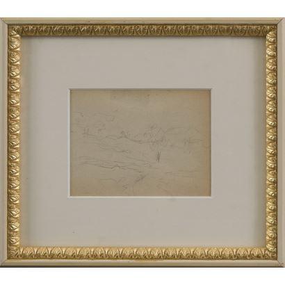 "Drawing. MEIFRÉN Y ROIG, Eliseo (Barcelona, 1859-1940). Pencil drawing on paper. ""Landscape"". 25x22cm s / m 10x12,5cm."