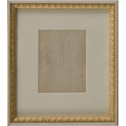 MEIFRÉN Y ROIG, Eliseo (Barcelona, 1859-1940). Dibujo a lápiz sobre papel.