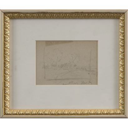 "MEIFRÉN Y ROIG, Eliseo (1859-1940). Pencil drawing on paper. ""Landscape"". Signature in lower right corner. 25x22cm s / m 12.5x10cm."