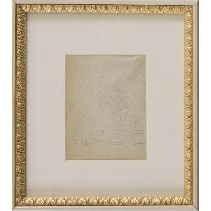 "MEIFRÉN Y ROIG, Eliseo (Barcelona, 1859-1940). Pencil drawing. ""Landscape"". Signature in lower left corner. 25x22cm s / m 10x12,5cm."