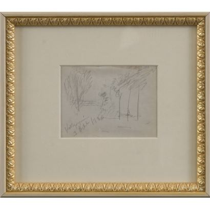 "MEIFRÉN Y ROIG, Eliseo (Barcelona, 1859-1940). Pencil drawing on paper. ""Landscape"". Inscription in lower left corner. 25x22cm s / m 10x12,5cm."