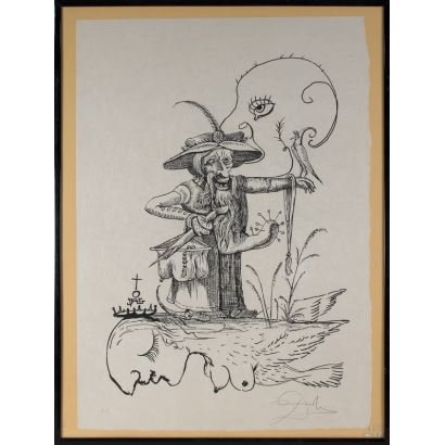 "Salvador Dalí, lithograph, ""The capricious dreams of Pantagruel"", Signed in the lower right corner Dalí, 82x62 s / m 79x59 cm."