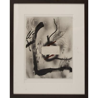 "TÁPIES, Antoni (Barcelona, 1923-2012). Lithograph numbered 2/2000. Signed in iron. SEAT editions, 1982. ""Composition"". 43x53cm s / m 26.5x37cm."