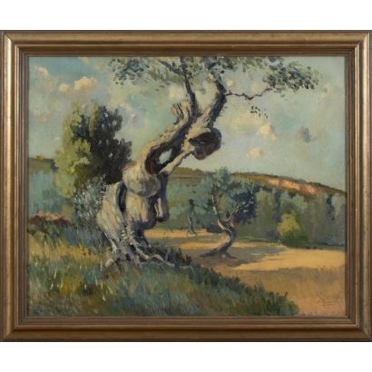 oil on canvas. Rural landscape with a large tree in the foreground. Signed lower right corner N. Raurich. 59x70cm / 48x59'5cm