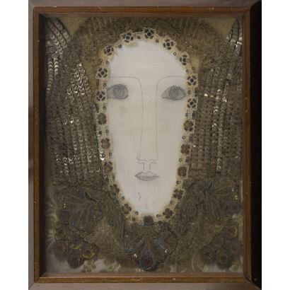 "Assemblage, Drawing with textile and metallic thread. ""Guardian Angel"" 34x27cm"