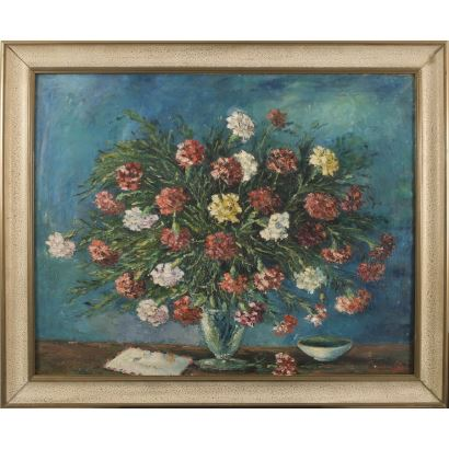 "CASAL, Carmina (Sama de Langredo, Asturias?, -Palma, 2005). Oil on canvas. ""Flowers and letter"". Signature in lower right corner. 88x106cm s / m 74x92cm."