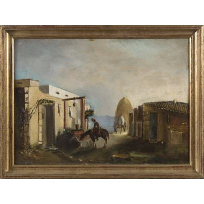 """Oil on panel XIX century. """"Man on horse in front of well"""". 36x47,5cm."""