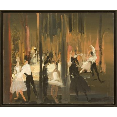 "LANCELOT, Monique (1923-1982). Oil on canvas. ""Dancers."" Signature in lower right corner. 77x58cm s / m 73x54cm."