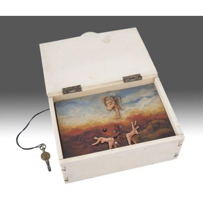 Caja de marfil autómata, siglo XIX.