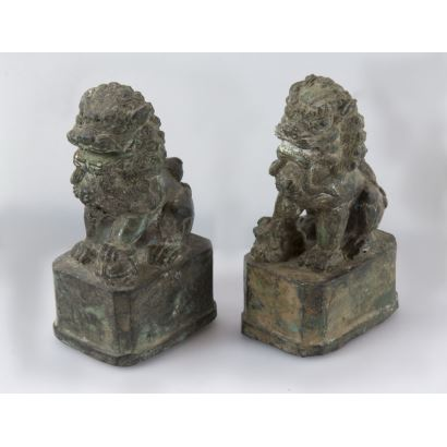 Pair of ancient Chinese lions.