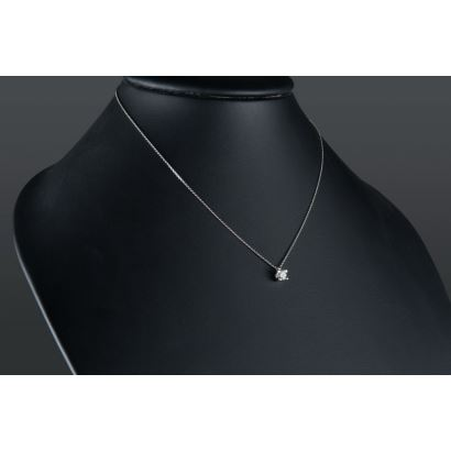 White gold chain with brilliant pendant set in 0.25cts claw.