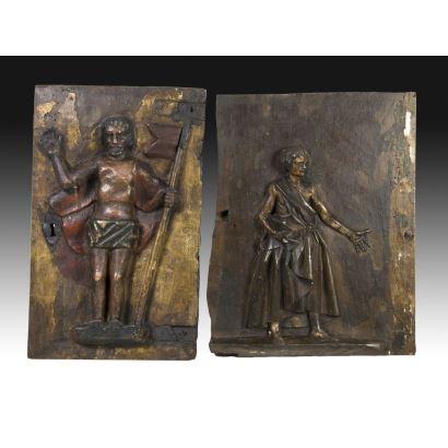 Pair of old carvings.
