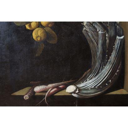Pintura de Alta Época. Siguiendo modelos de Sánchez Cotán, S. XVII.