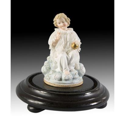 Porcelana. Salvator Mundi, en fanal.
