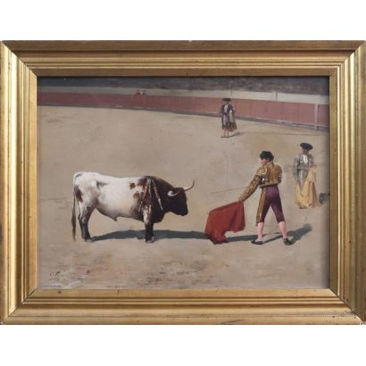 Pintura del siglo XIX. PIZA ENSENYAT, Cristobal (1850-1936). Óleo sobre tabla.
