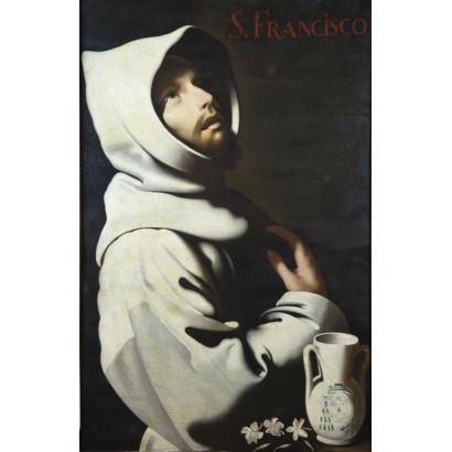 Pintura de Alta Época. Siguiendo modelos de Francisco de Zurbarán.