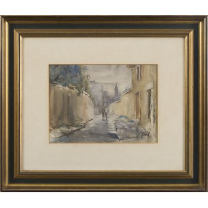 """SOLIS, Julio. Asturian school s.XX. Watercolor. """"Street with characters"""". Signature in lower right corner. 41x57cm s / m 22x30cm."""