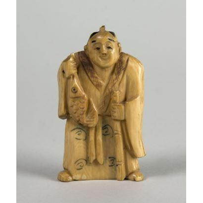 Netsuke tallado en marfil. Ppios. S.XX.