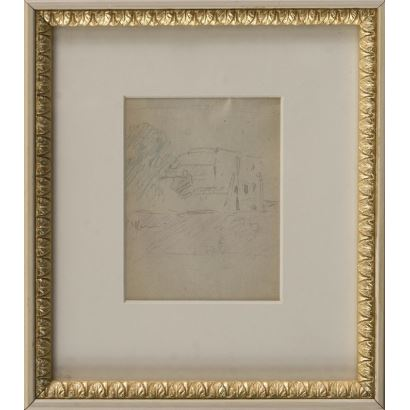 """MEIFRÉN Y ROIG, Eliseo (Barcelona, 1859-1940). Pencil drawing on paper. """"Home view."""" Signature in lower left corner. 25x22cm s / m 12.5x10cm."""