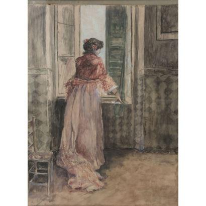 """MANUEL DE LA ROSA (1860-1924). Gouache on paper. """"Woman looking out the window"""". Signed in upper right corner: Manuel de la Rosa / Seville. Measurements: 60 x 44 cm."""