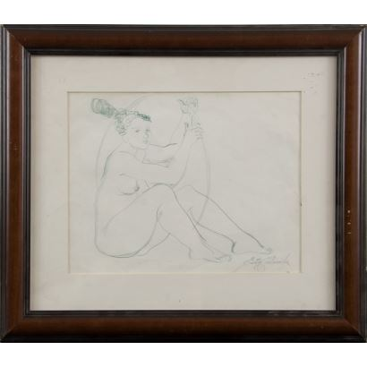 """CASTAÑEDA, Emilia (1943). Pencil drawing. """"Woman with a hoop"""". Signature in lower right corner. 48x41cm s / m 30x23cm."""