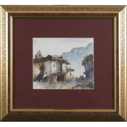 """SOLIS, Julio. Asturian school. s.XX. """"Rural view."""" Signature and date in lower right corner: J.Solis 02 '. 40x43cm s / m 17x20cm."""