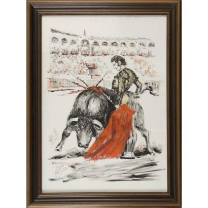 "LÓPEZ FERNÁNDEZ, José ""CANITO"" (Madrid, 1942). Mixed technique. ""Bullfighting scene"". Signature in lower left corner. 81x60cm s / m 68x48cm."