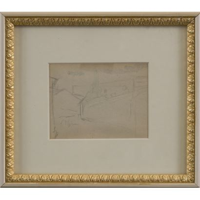 """MEIFRÉN Y ROIG, Eliseo (Barcelona, 1859-1940). Pencil drawing on paper. """"Houses"""". Signature in lower left corner. 25x22cm s / m 10x12,5cm."""