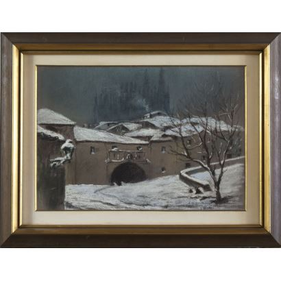 """BERNAL COLL, José (Murcia, 1908-?). Drawing on cardboard. """"Snowy town"""". Signature and dedication in the lower right corner. Measurements: 51x29cm."""