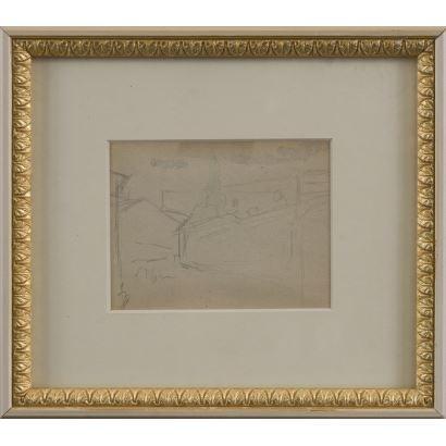 Dibujo. MEIFRÉN Y ROIG, Eliseo (Barcelona, 1859-1940). Dibujo a lápiz sobre papel.