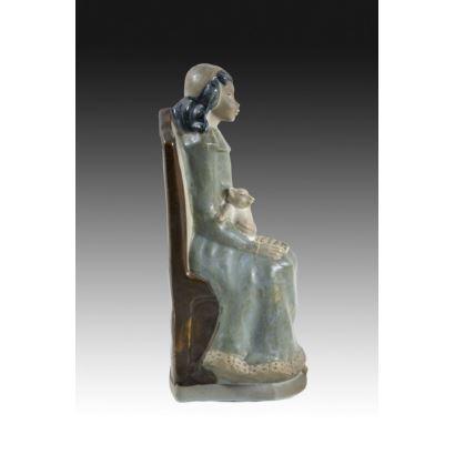 Porcelana. Figura en porcelana valenciana, mediados S. XX.