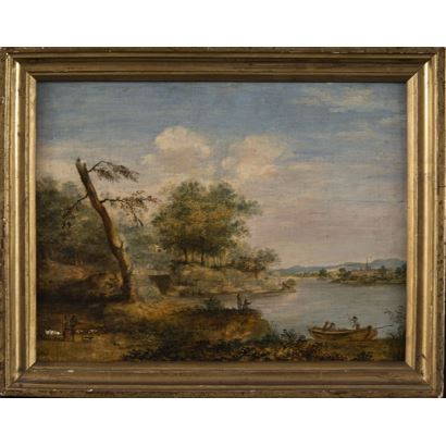 """Oil on panel, view of Dutch landscape with romantic influences s.XVIII """"Landscape with characters and boat"""" 24x30cm / 19x25cm"""