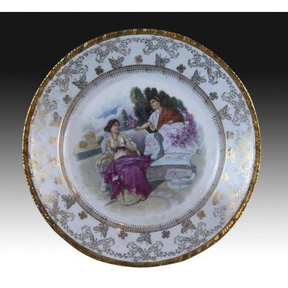Plato ornamental en porcelana de Santa Clara, S. XX.