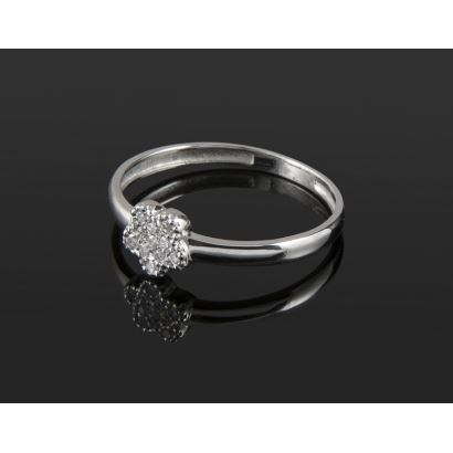 White gold ring with flower covered by diamonds totaling 0.06cts. Special for girls.