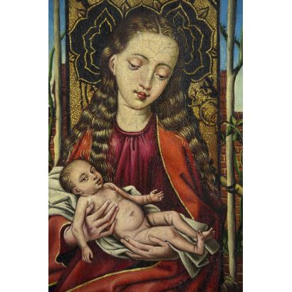 Pintura del siglo XIX. Siguiendo modelos de Dirk Bouts (Harleem, Paises Bajos, 1415 - Lovaina, Bélgica, 1475)