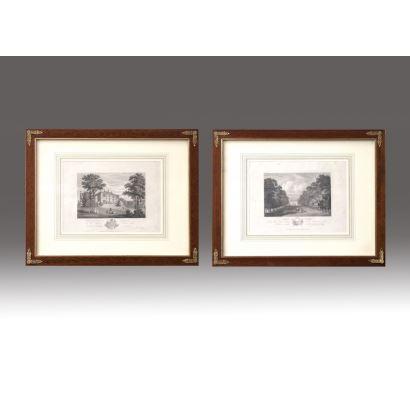 Pareja de grabados en blanco y negro. Escuela inglesa, siglo XIX.