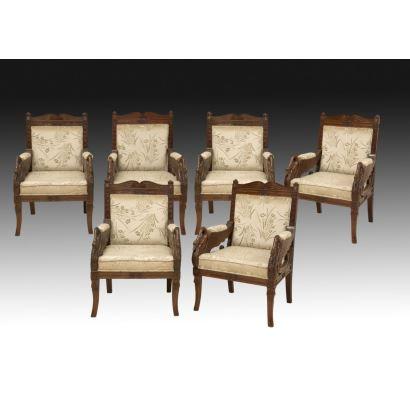 Empire style armchairs set, S. XIX.