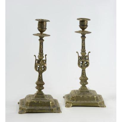 Pair of candlesticks, ppios. S. XX.