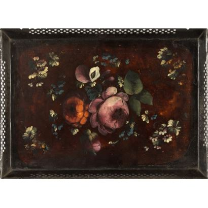 Old rectangular metal tray, the piece is decorated on the front with various colorful flowers on an ocher background. 19th century 47x35cm