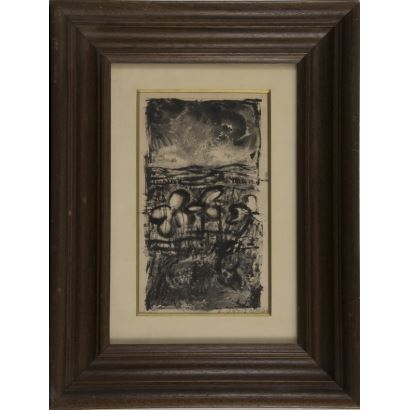 """Lithograph framed and signed on plate E.ORTIZ ALONSO. """"Composition"""". 48x37cm s / m 27x16cm."""