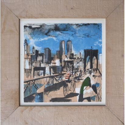 "DIDIER LOURENÇO (Premià de Mar, Barcelona, 1968). Lithograph numbered 43/80 and signed in pencil. ""Brooklyn bridge"". It has a certificate of authenticity. Measures: 28x28cm c / m 46x45cm."