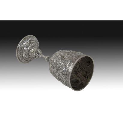 English silver chalice, 19th century.