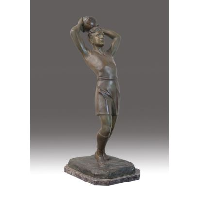 """Figure made of calamine in Art Deco style. """"Soccer player"""". Signature on base: RJLEPEC. Measurements: 62x30x25cm."""