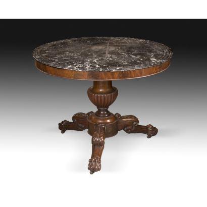 English circular table, circa 1900.